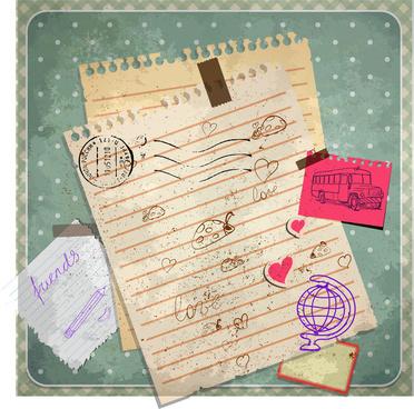 old doodle school paper
