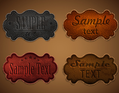 old leather labels design vector graphics