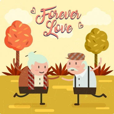 old love background cute aged couple retro design