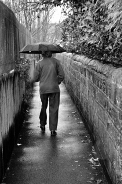 old man in rain
