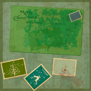 old merry christmas card with stamp