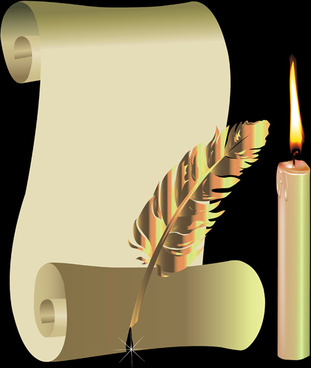 old paper scrolls and candle design vector