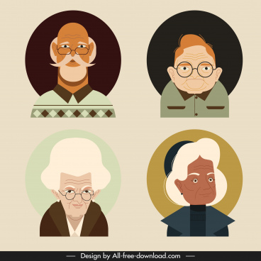 old people portrait avatars colored cartoon sketch