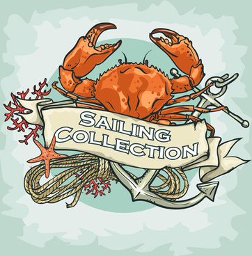old retro sailing labels vectors