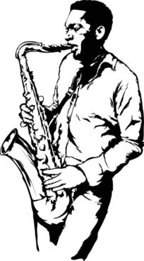 old saxophone performer vector