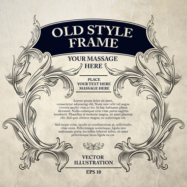 old style frame ornament vector