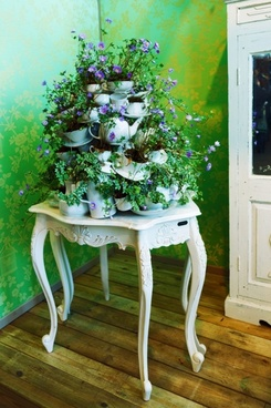old table with flower decoration