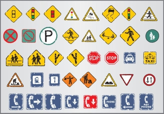old traffic signs icon 03 vector
