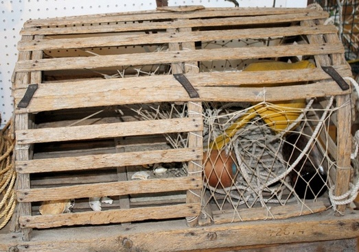 old wooden lobstering cage