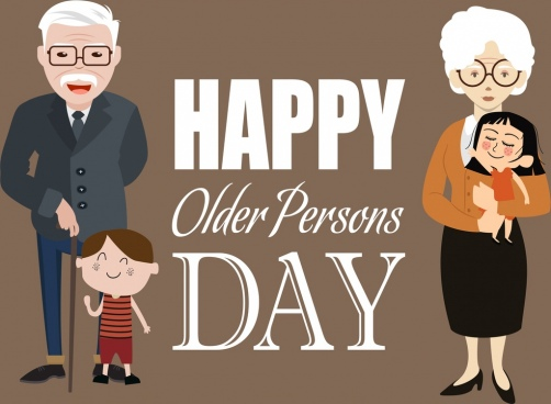 older persons day banner adult infant icons