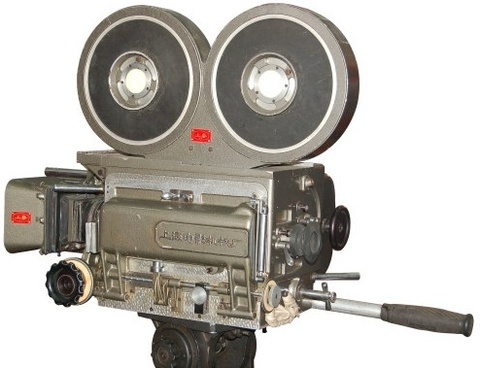 oldfashioned movie camera psd