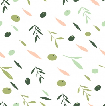 olive background multicolored flat decor fruit leaf icons