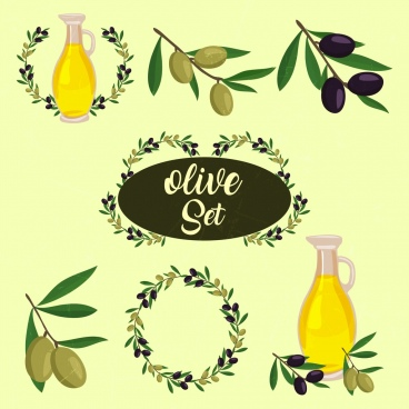 olive design element various symbols isolation