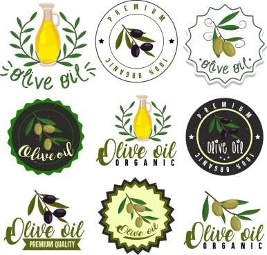 olive labels collection fruit jar icons various shapes