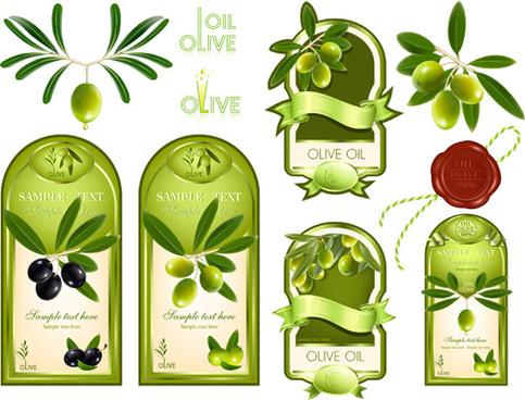 olive labels vector