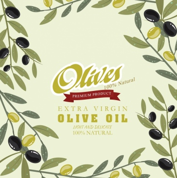 olive oil advertisement fruits icons decoration retro design