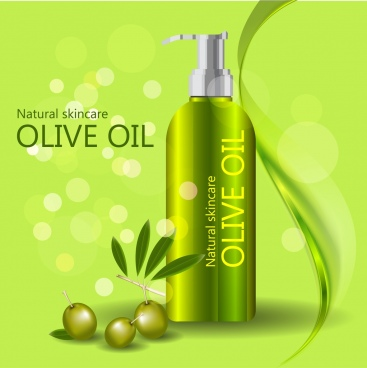olive oil advertisement shiny green design bokeh backdrop