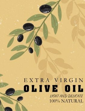 olive oil advertising fruit icon dark retro design