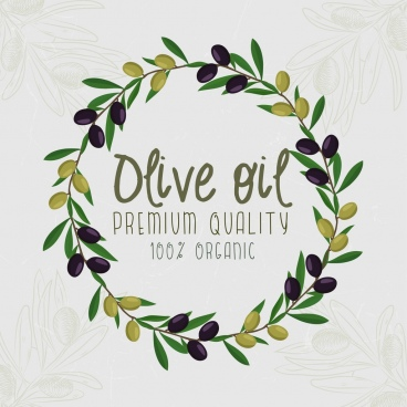 olive oil advertising fruit round wreath icons decoration
