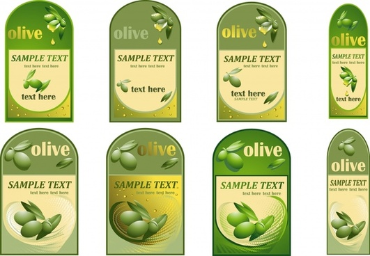 olive oil bottle stickers vector