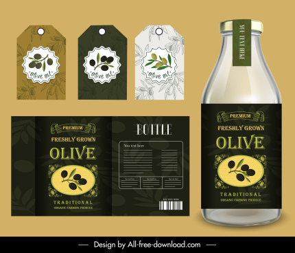 olive oil label templates elegant flat decor