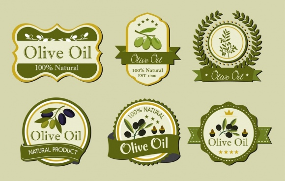 olive oil label templates various green shapes isolation
