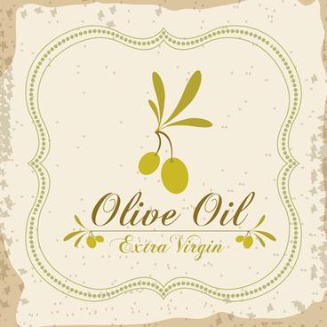 olive oil retro frame vector set