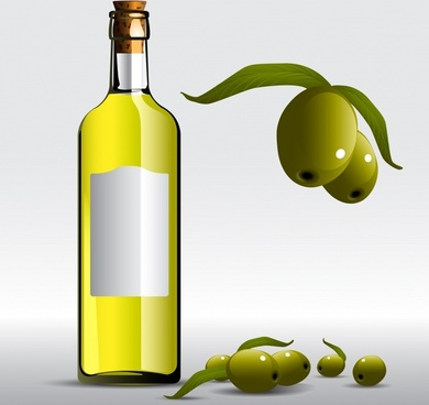 olive oil advertising background bottle fruit icons decor