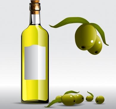 olive oil advertising background bottle fruit icons decor