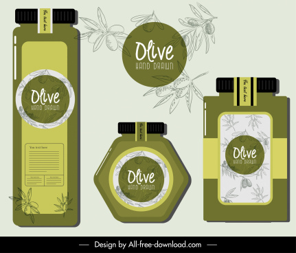 olive products advertising banner handdrawn flat decor