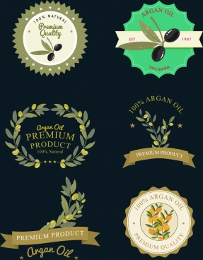 olive products logotypes various shapes isolation