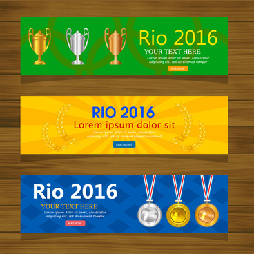 olympic rio 2016 banner sets with horizontal design