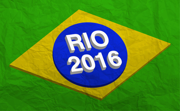 olympic rio 2016 vector illustration with brazil flag