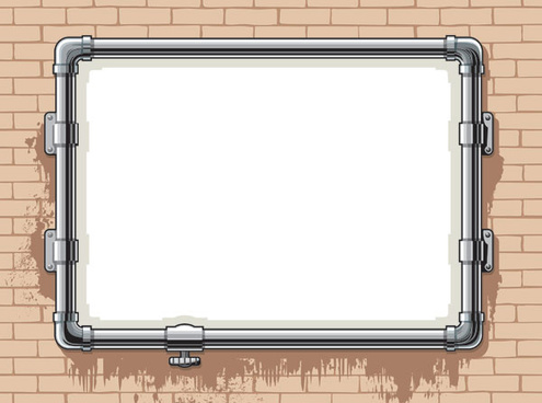 on the wall of pipe frame vector