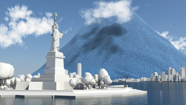 one days carbon dioxide emissions from the statue of liberty high res still from ccs a 2 degree solution film