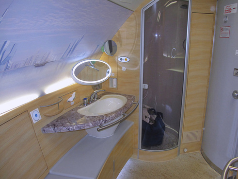 one of the two shower rooms for 1st class passengers