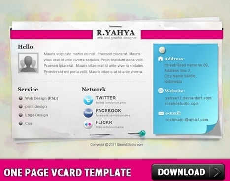 One Page vCard Template