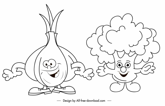 onion brocoli icons funny stylized handdrawn sketch