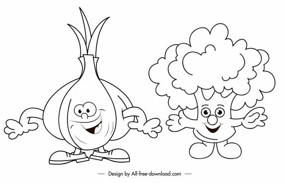 onion brocoli icons funny stylized handdrawn sketch