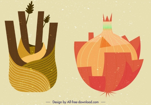 onion vegetables icons colored retro design