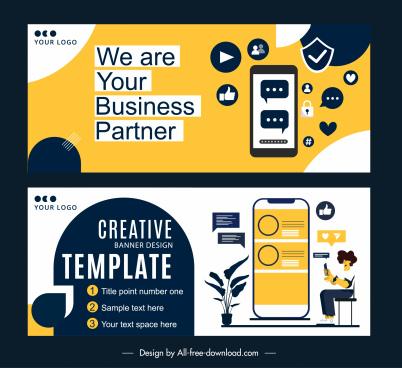 online advertising banner templates flat digital elements sketch