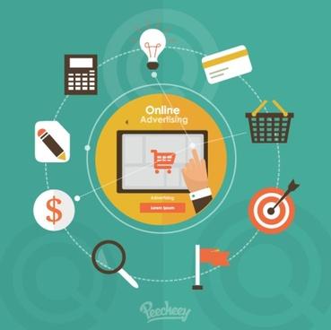 online advertising flat design concept