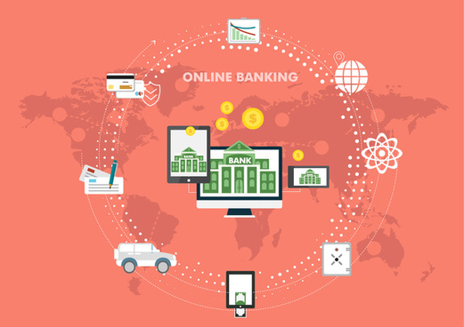 online banking infographic with icons and circle design