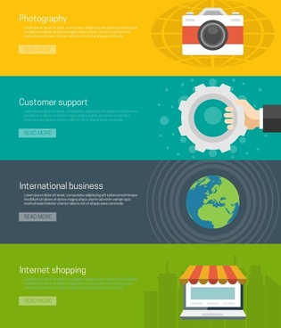 online business business elements illustration with colored webpages style