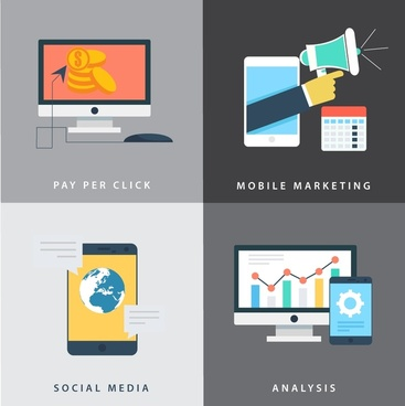 online business development elements with digital applications illustration
