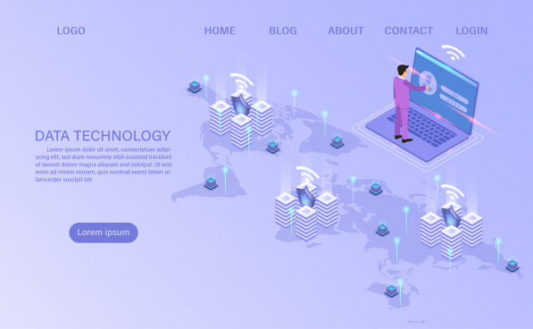 online computing technology big data flow processing concept 3d servers and datacenter isometric flat design vector illustration