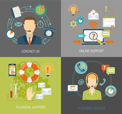 online customer service concepts design in flat color