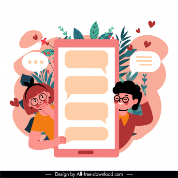 online dating background love couple speech bubbles sketch