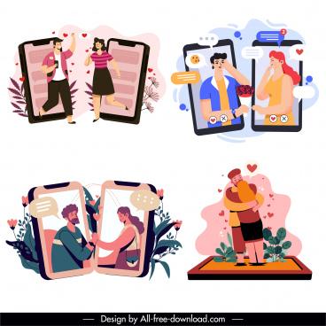 online dating design elements love couples sketch