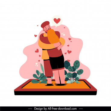 online dating icon love couple sketch cartoon character
